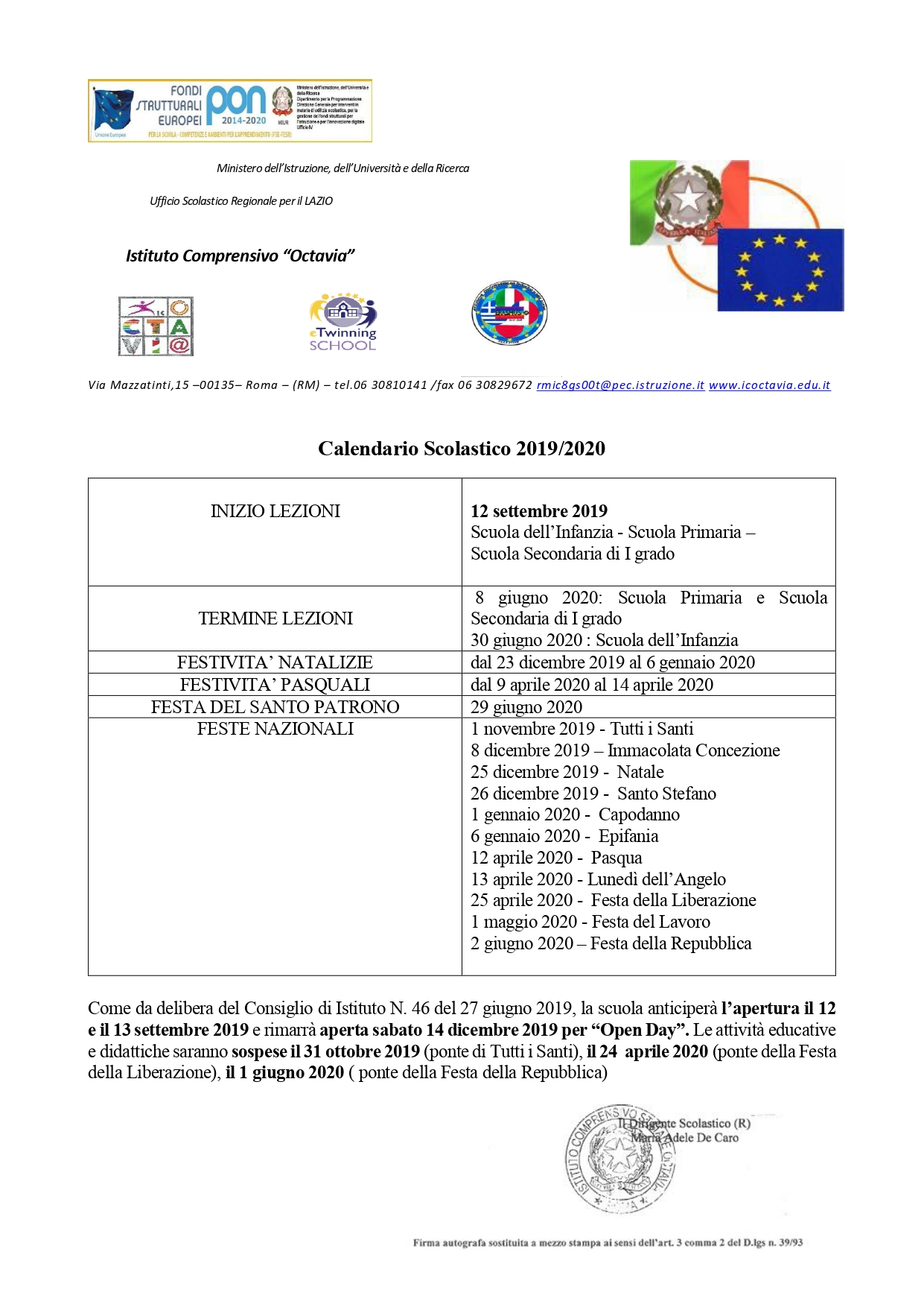 Calendario Di Giugno 2020.Calendario Scol